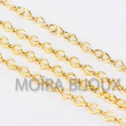 x1 m chaine 034 laiton or maillon ovale SOUDÉ 2x1mm epaisseur 0,6mm