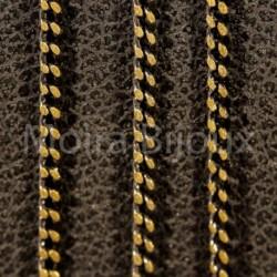 1metre chaine laiton electroplate noire/bronze doré 1x1mm
