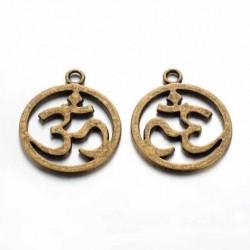 "10 breloques  ""ohm"" bronze  hindous 22x19mm"