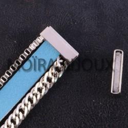 1 fermoir  acier inoxydable magnétique plat lisse argent  22x13x3mm