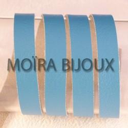 1 M cuir plat lisse  vachette bleu turquoise 10mm largeur
