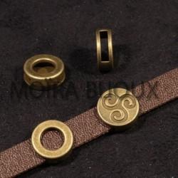perles passante ronde  bronze triskel  x5 pour cuir 13x5mm