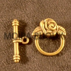 10 sets fermoirs toggle fleur ronds bronze 18mm