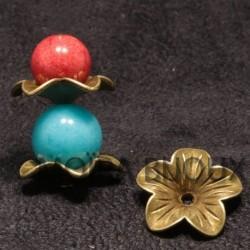 10 calottes coupelles fleur bronze 5 pétales 18mm