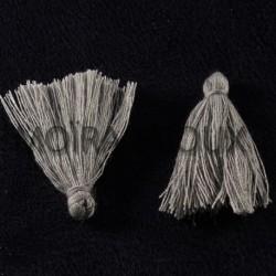 10 pompons breloque coton couleur gris  25x5mm