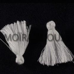 10 pompons breloque coton couleur blanc pur 25x5mm