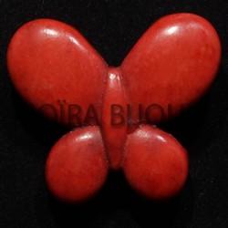 2perles breloque  papillons howlite rouge  diamètre 30x25mm