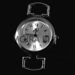 cadran montre argent rond lisse quartz fond champagne  56mm