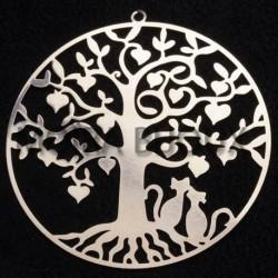 1estampe pendentif arbre et chats laiton filigrane argenté 63x45mm
