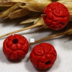 10 perles sculptées cinabre rouge fleur rond 6/7mm