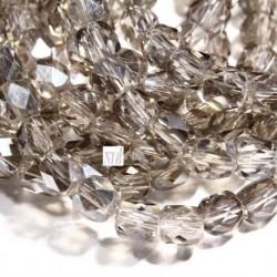 """50 perles de verre  de bohème facette gris"""" smoke """"  AB 4mm"""