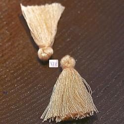 10 pompons breloque coton couleur crème  25x5mm