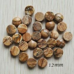 2 cabochons pierre naturelle jaspe beige noir rond 12mm
