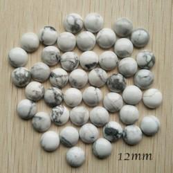 2 cabochons pierre cabochon howlite blanc /gris   rond fond plat 12mm