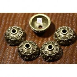 10 calottes coupelle demi dome fleurs bronze 10x5mm
