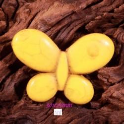 2perles breloque  papillons howlite jaune diamètre 30x25mm