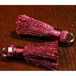 2 pompons de soie bordeaux montés sur anneau or 30x15mm