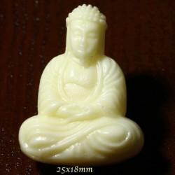 2 bouddha assis  miniature crème   percées 25x18mm