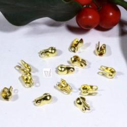 100 caches noeud doré attaches chaine laiton bille pour chaine 2mm
