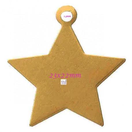 8 breloques sequin étoiles  doré 5 branches lisse plate 23x22mm