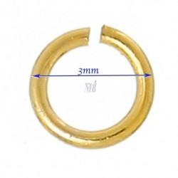 Anneaux plaqué or  ouvert diamètre 3mm externe x100