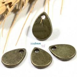 20 breloques goutte bronze plates lisse  11 x8mm
