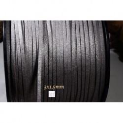 1 mètre  cordon suédine plat gris clair   aspect satiné brillant  3x1,5m