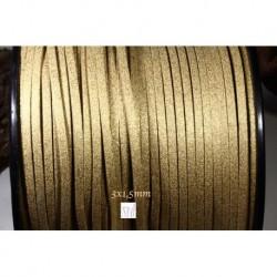 1 mètre  cordon suédine plat beige /doré  aspect satiné brillant  3x1,5m
