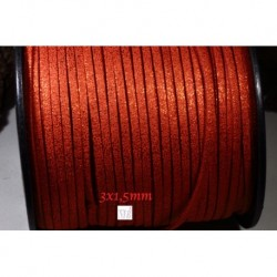 1 mètre  cordon suédine plat rouge aspect satiné brillant  3x1,5m