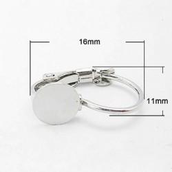 10 supports boucle d'oreille dormeuse laiton argent platine  plateau 6mm