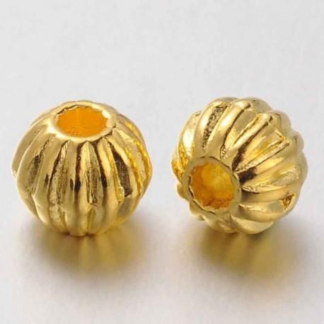 10 perles intercalaire ronde laiton striée metal doré 7mm