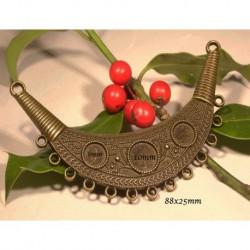 1 grand connecteur pendentif  ethnique  bronze 88x25mm