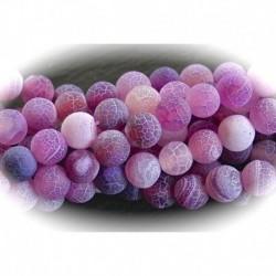 X10perles d'agates givrée craquelées lilas  clair 6mm