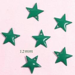 6 sequins étoile emaille  laiton vert 12mm