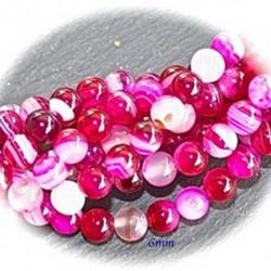 20 perles d'agate rose enrubannée veiné blanc 6mm