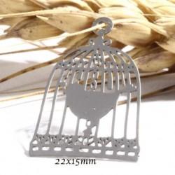 6 estampes pendentif  cage à oiseaux et son oiseau acier argenté 22x15mm