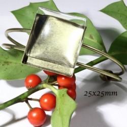 1 support bracelet cabochon carré bronze  +cabochon verre 25mm