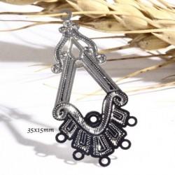 6 estampes pendentif chandelier esprit ethnique acier argenté 35x15mm