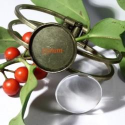 1 support bracelet double jonc rigide  bronze  +cabochon verre 25mm