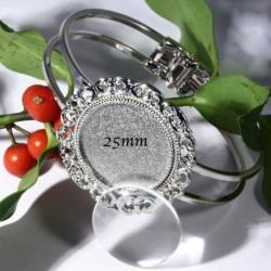 1 support bracelet manchette rigide métal  argenté dentelles  +cabochon verre 25mm