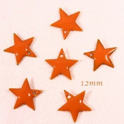 6 sequins étoile emaille  laiton orange 12mm