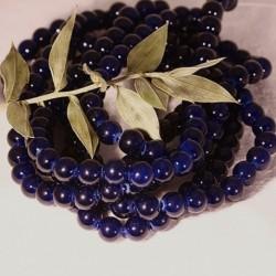 6mm: 20 perles pierre  jade naturelle teintée ronde bleu nuit