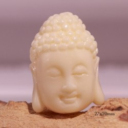 4 perles  têtes de bouddha crème chair  27x20mm