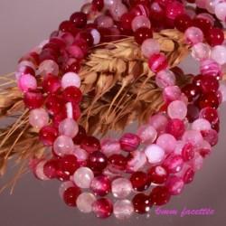 20 perles d'agate framboise facettée enrubannée 6mm