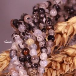 """20 perles agate ronde """"veines de dragons """"noir et blanc 4mm"""