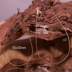 2 boucles d'oreille créole goutte en laiton couleur bronze  60x30mm