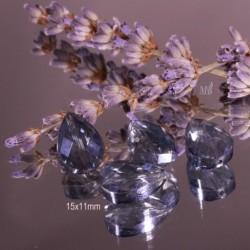 10 perles goutte  de cristal gris bleuté  facettée 15x11mm