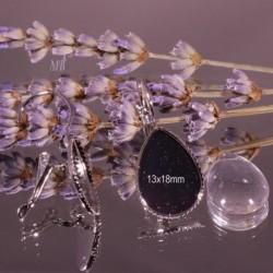 12 pieces : 6supports boucle d'oreille goutte dormeuse  argent 18x13mm +6cabochons goutte verre