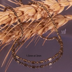 5m chaine laiton boule et tube  couleur bronze 1,5mm et 3mm