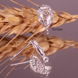 2 boucles d'oreille puce  goutte plaqué argent arabesque 15x13mm